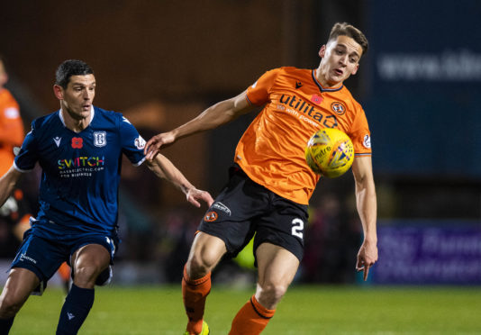 Louis Appere, right, in derby action with Graham Dorrans of Dundee.