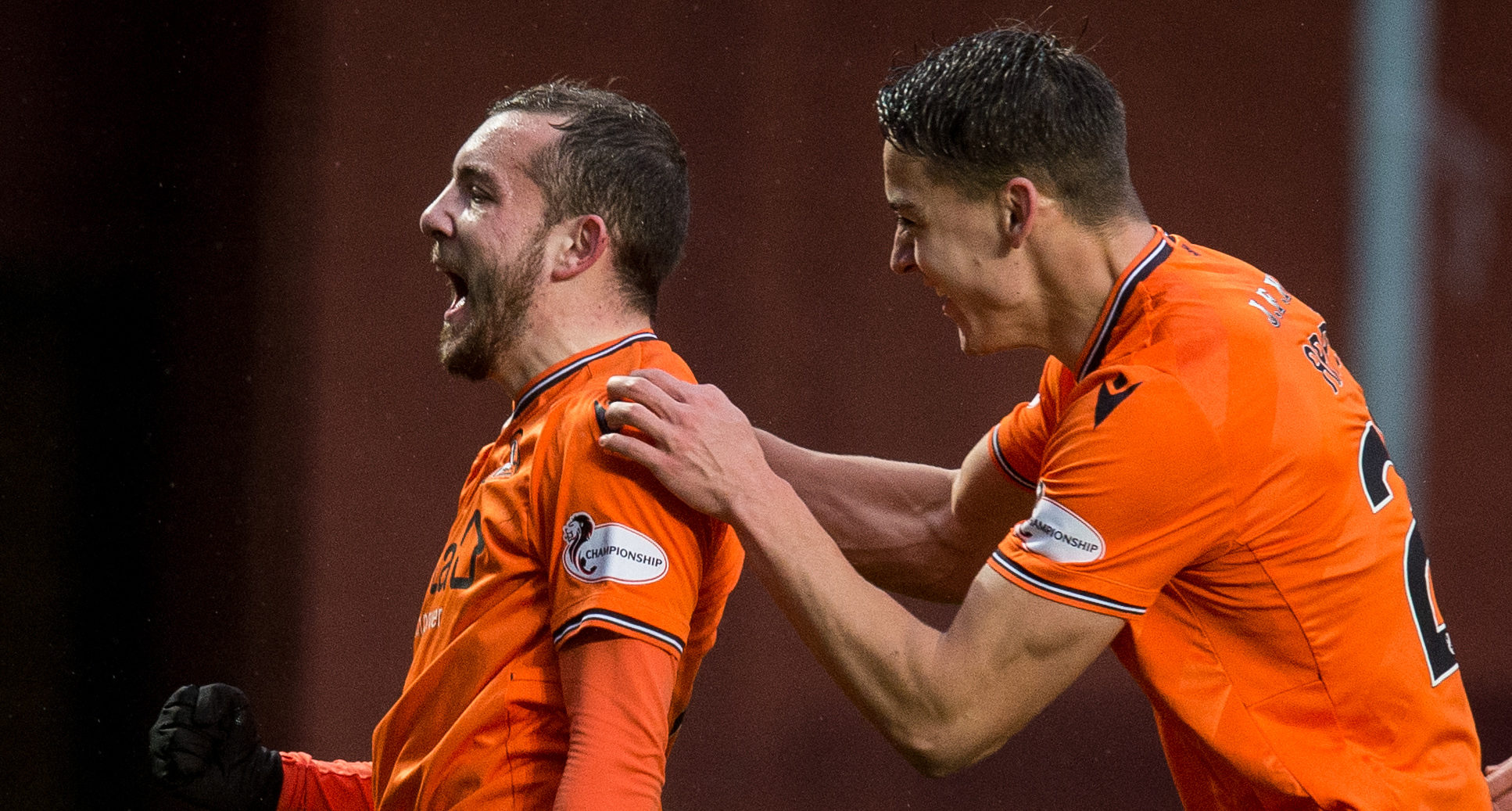 Paul McMullan, left, celebrates his goal with the help of Louis Appere.
