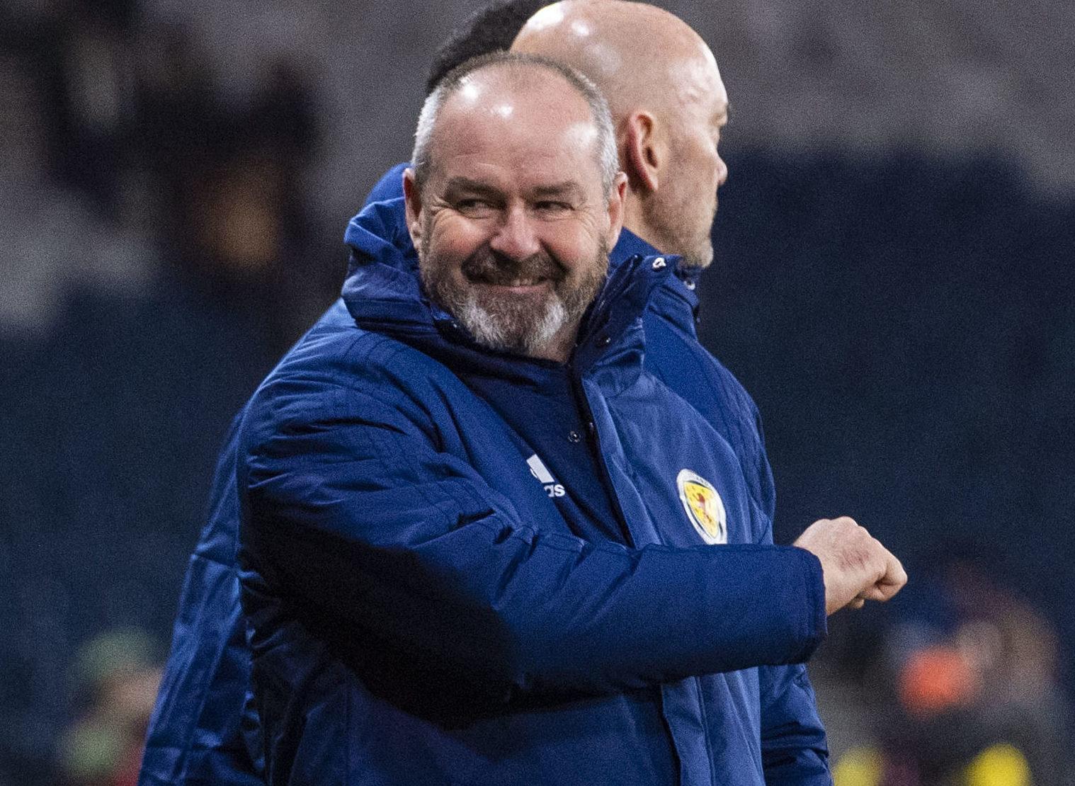 Scotland manager Steve Clarke celebrates at full-time.