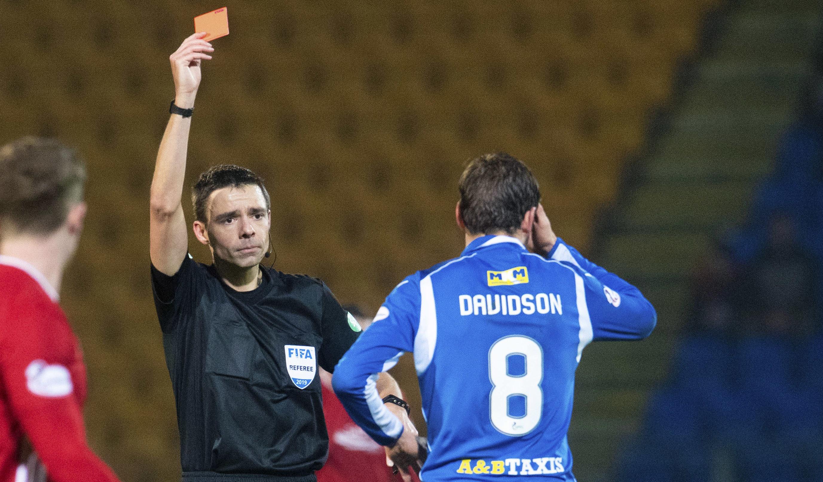 Murray Davidson is sent off against Aberdeen.