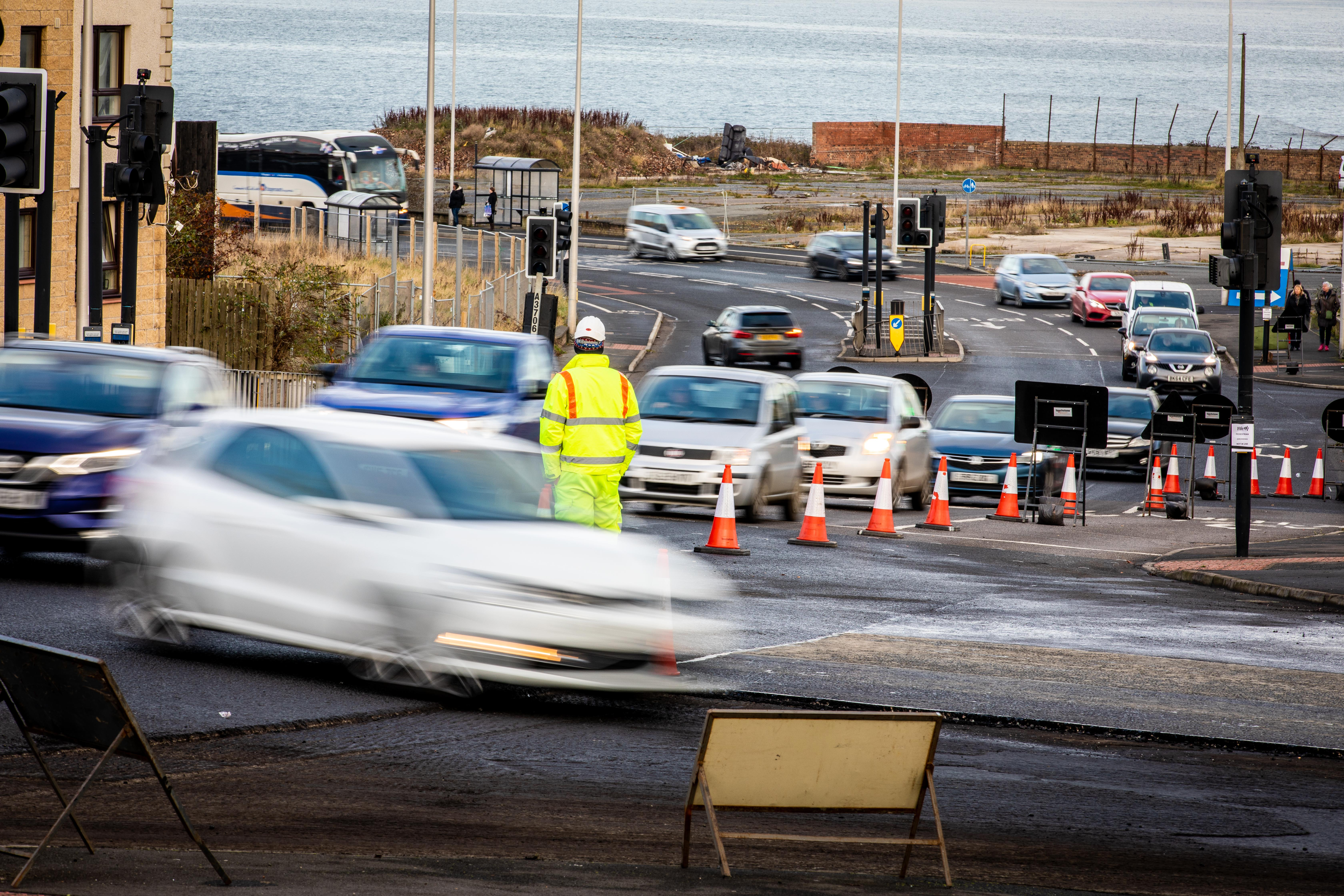 Traffic queuing at the roadworks in Kirkcaldy.