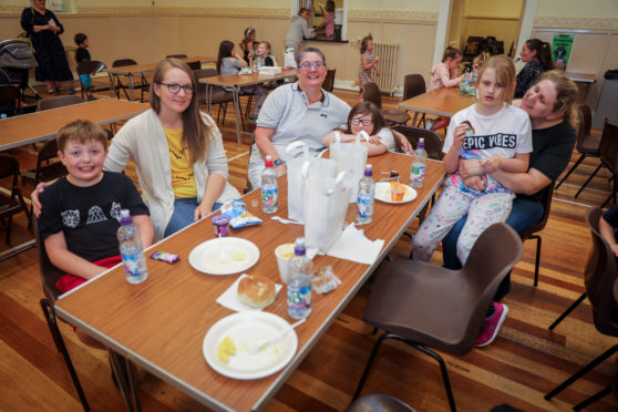 Logan Caterson (9), Dawn Cateron (39), Sharon Sutherland (45), Amber Sutherland (8), Sarah Maddison (37) and Alyssa Maddison (8) had a great lunch as part of Cafe Inc.