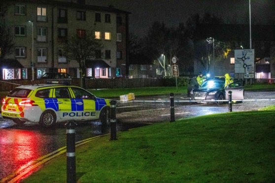 Police on scene examining a Grey Vauxhall Insignia after reports of a pedestrian being involved in the accident on Church Street, Glenrothes late Saturday night.