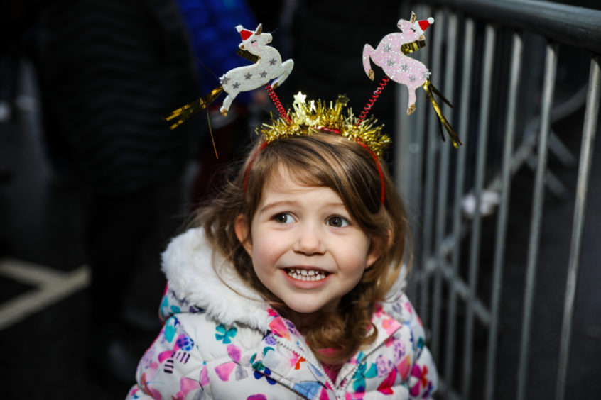 Ciara Young with her unicorn decorations  at the Monifieth Christmas lights switch-on.