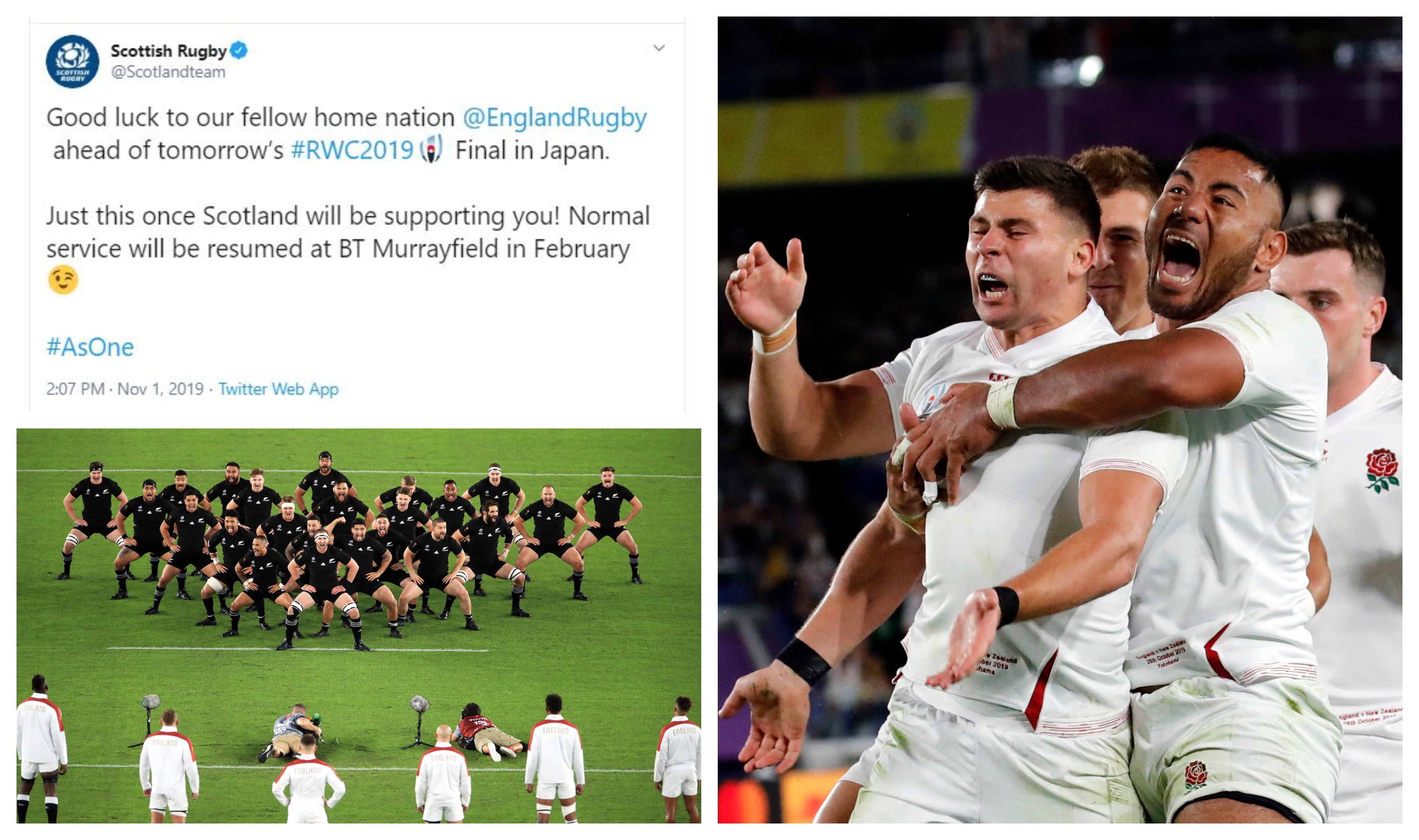 Scottish Rugby's official account has backed England in the Rugby World Cup final.