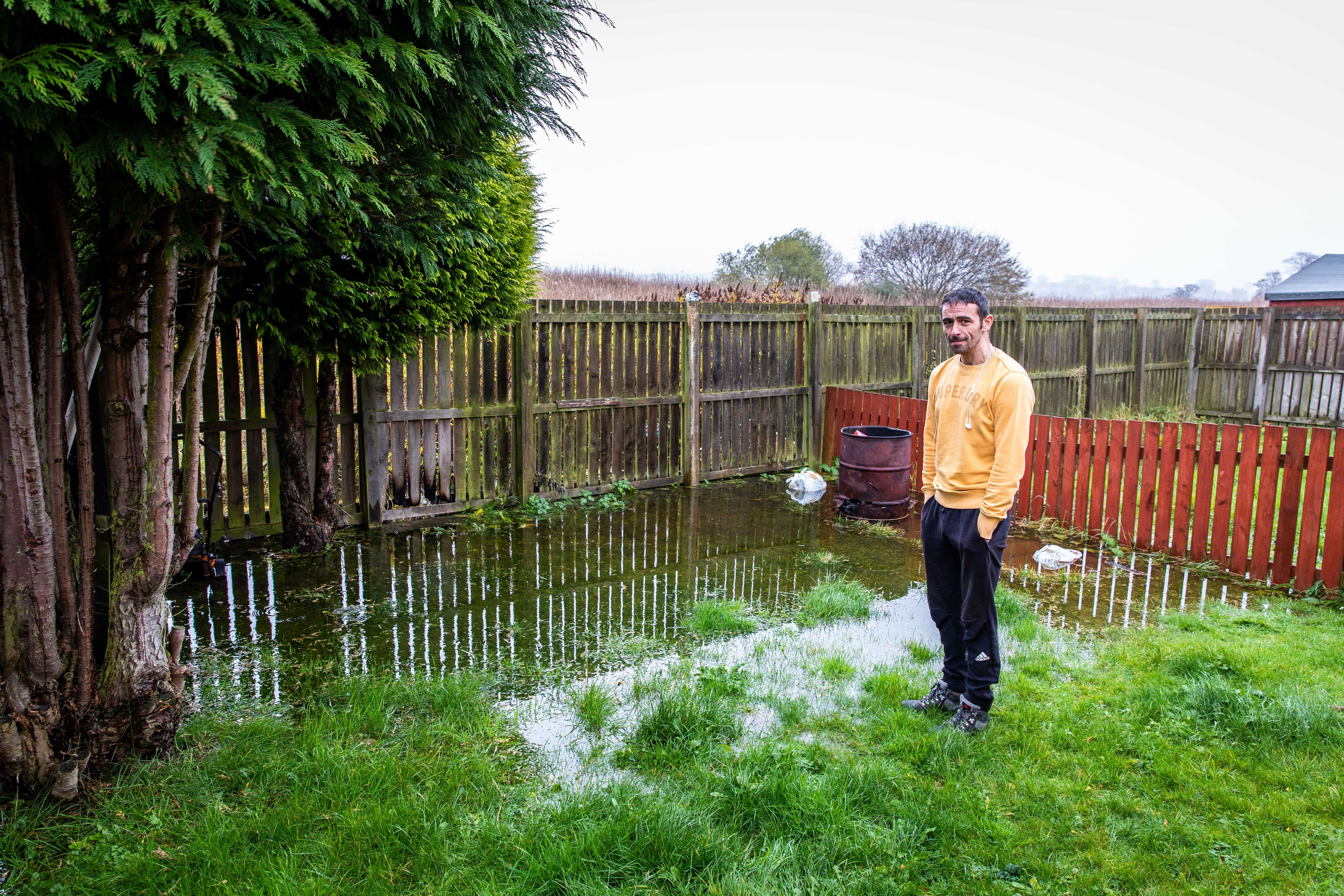 Mark Taylor is angry his garden in Seton Terrace has flooded again.