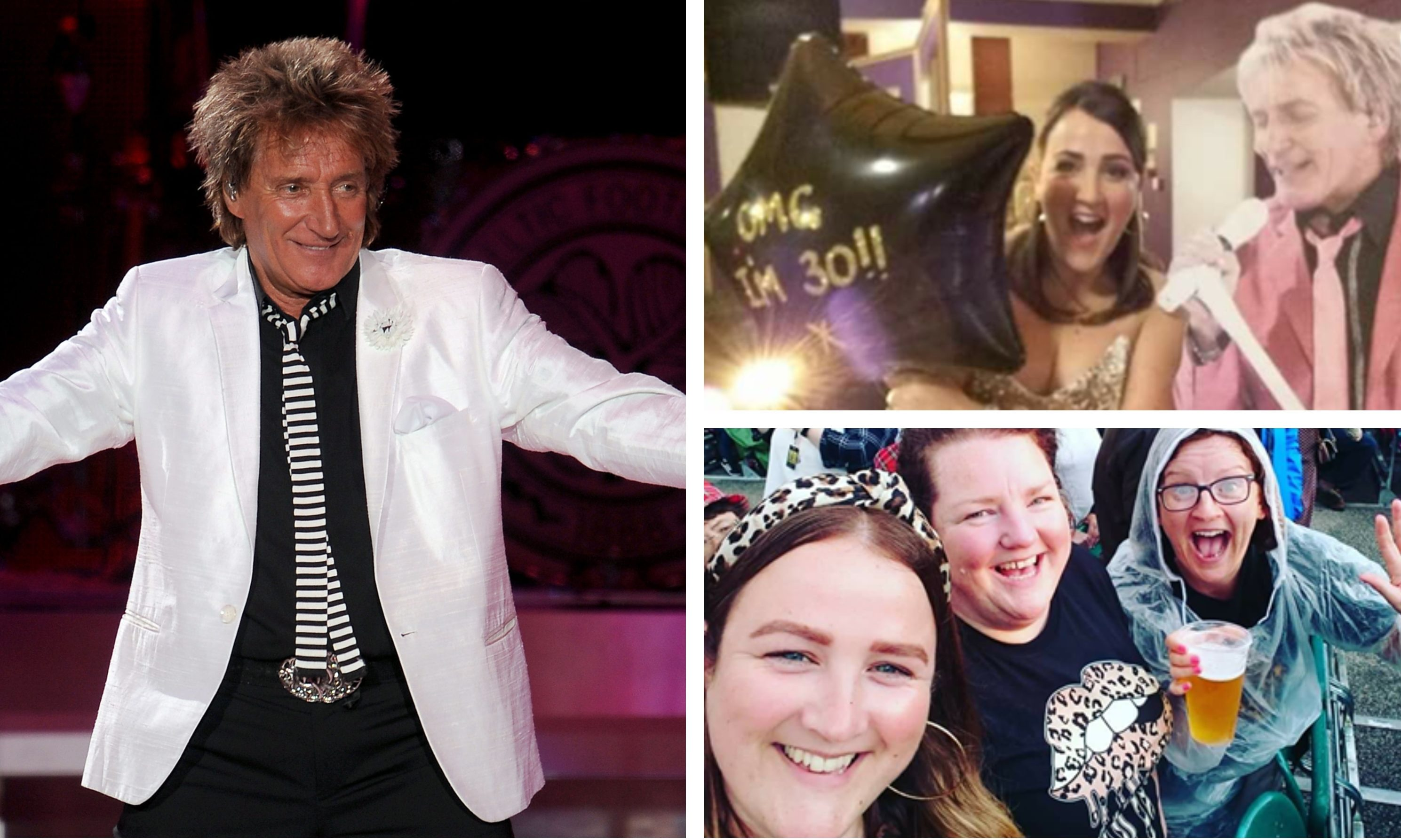 Left: Sir Rod Stewart. Right: Amy Campbell with a cardboard cut-out of the music star/ with her sisters at Sir Rod's Aberdeen gig earlier in 2019.
