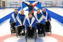 Silver-winning Scotland Wheelchair Curling Team. L-R: David Melrose, Robert McPherson, Aileen Neilson, Hugh Nibloe, Gary Logan. Back: Sheila Swan.  Picture: Graeme Hart.