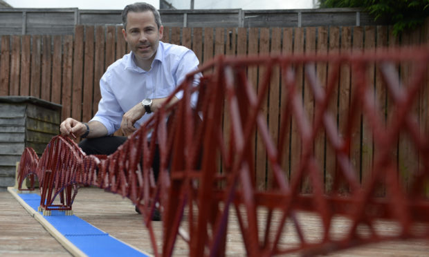 Michael Dineen with his Lego Forth Bridge.