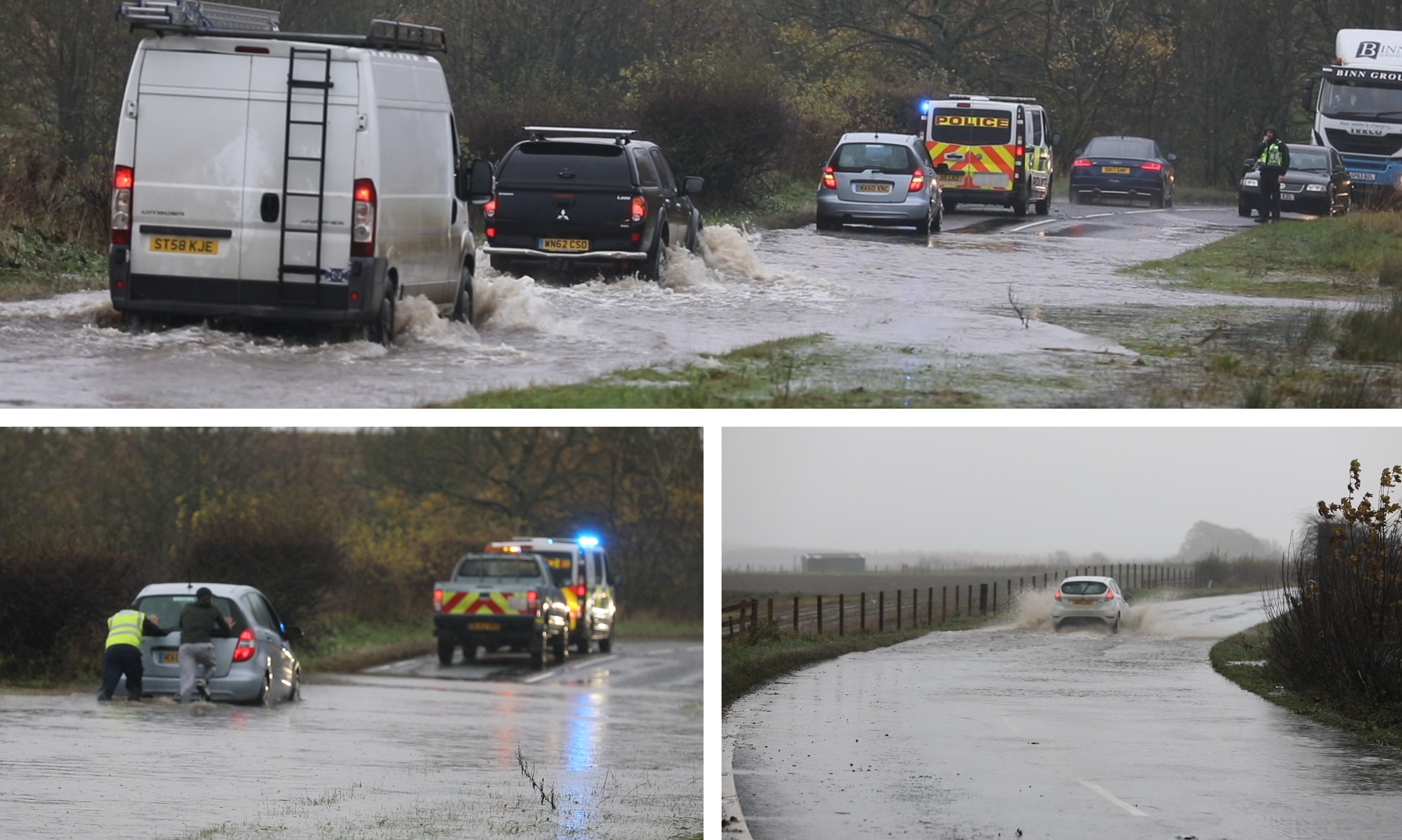The A912 has been flooded in Fife.