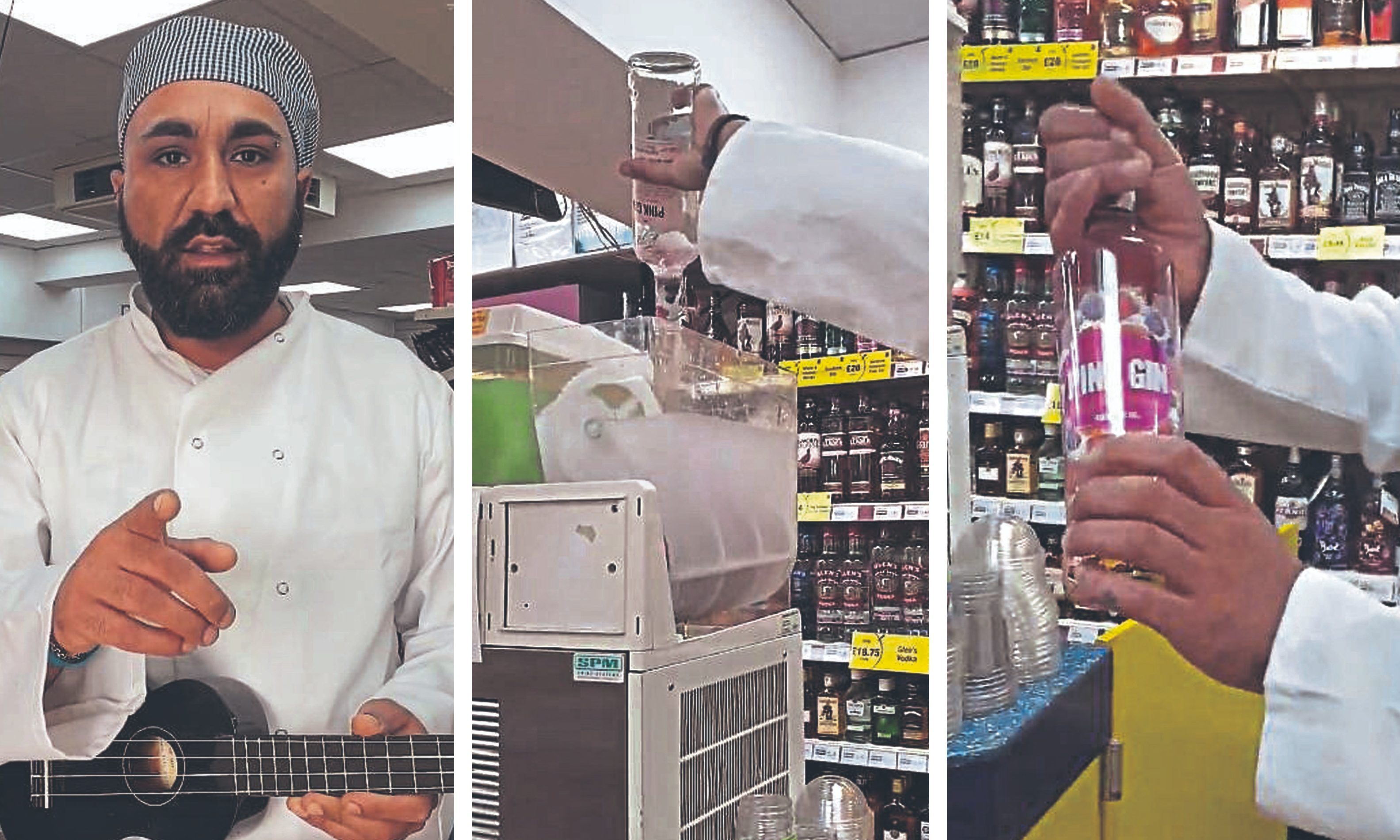 A social media post shows  shop manager Faz Latif making a gin slushy.