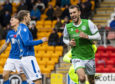 Christian Doidge celebrates after scoring to make it 1-0 for Hibs.