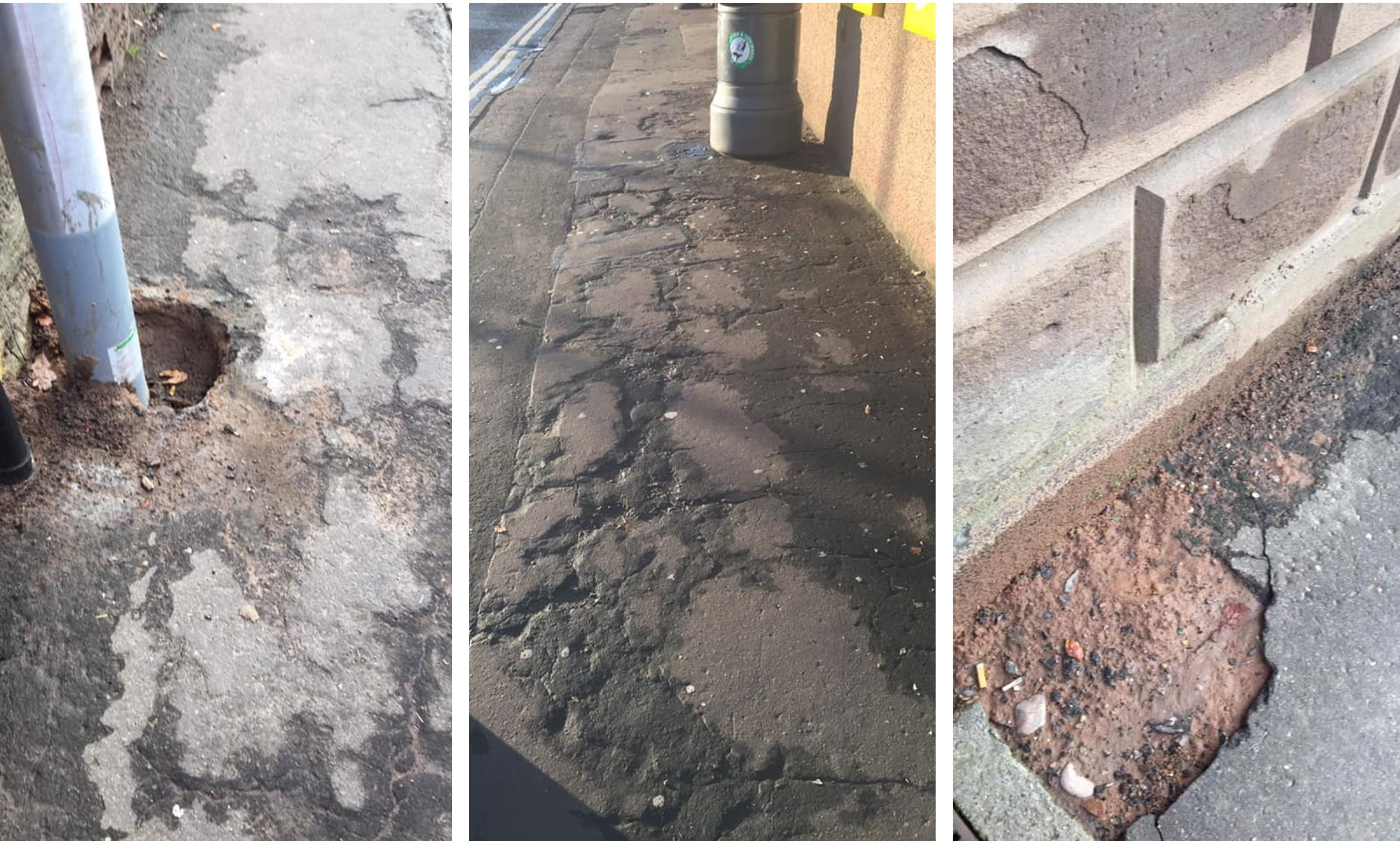 The community council has condemned the state of some Brechin pavements.