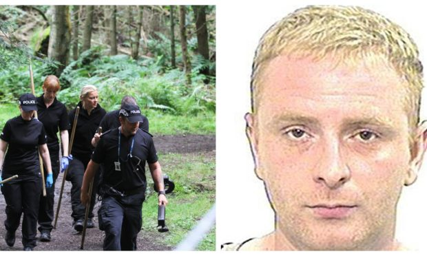 Left: Police at Templeton Woods in 2017. Right: Robbie McIntosh.