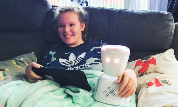 Chloe with her robot counterpart Chloe 2