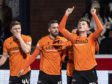 Dundee United's Lawrence Shankland celebrates his goal.