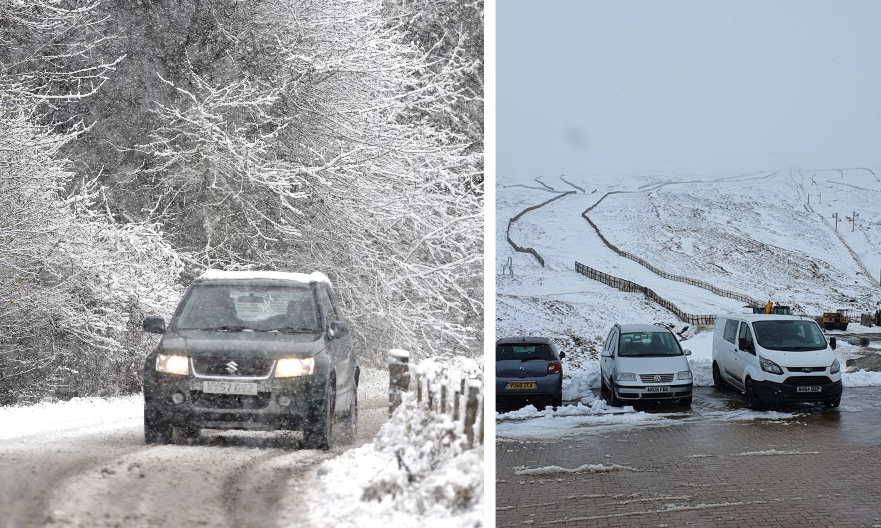 Snow in the Highlands at the weekend and at Glenshee Ski Centre on Monday.