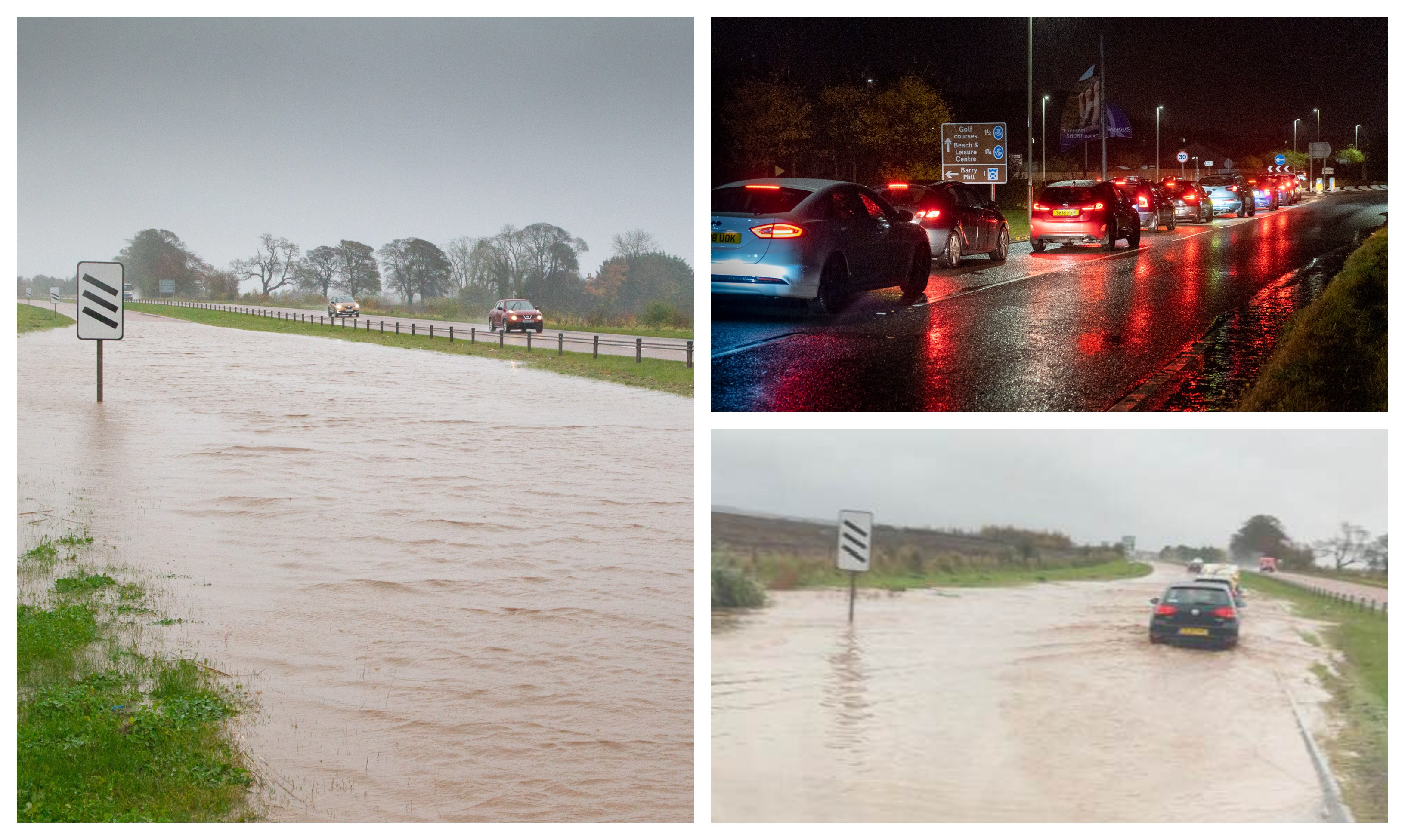 Flooding on the A92 and traffic near Carnoustie.