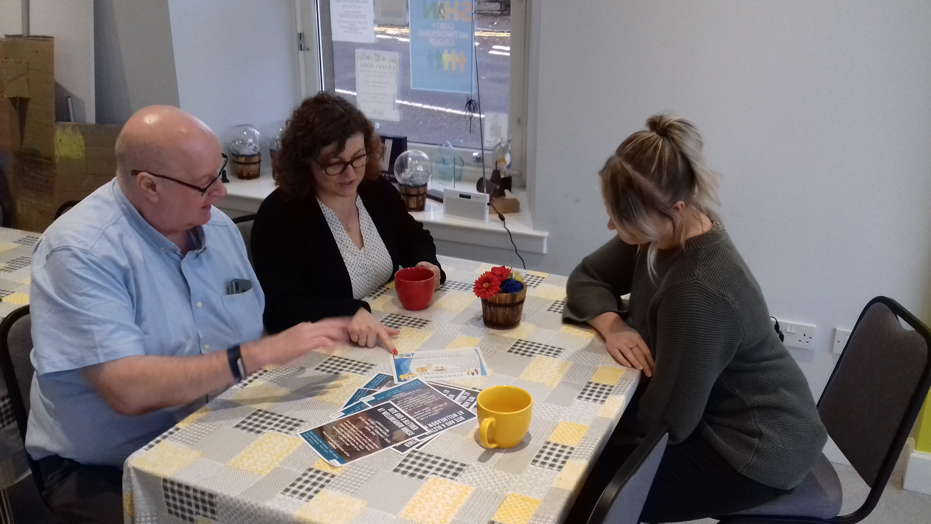 Liam McLaughlin from Perth & Kinross ADP, Audra Webster and SCYD development worker Ashleigh Mustard at the Strathmore Recovery Café