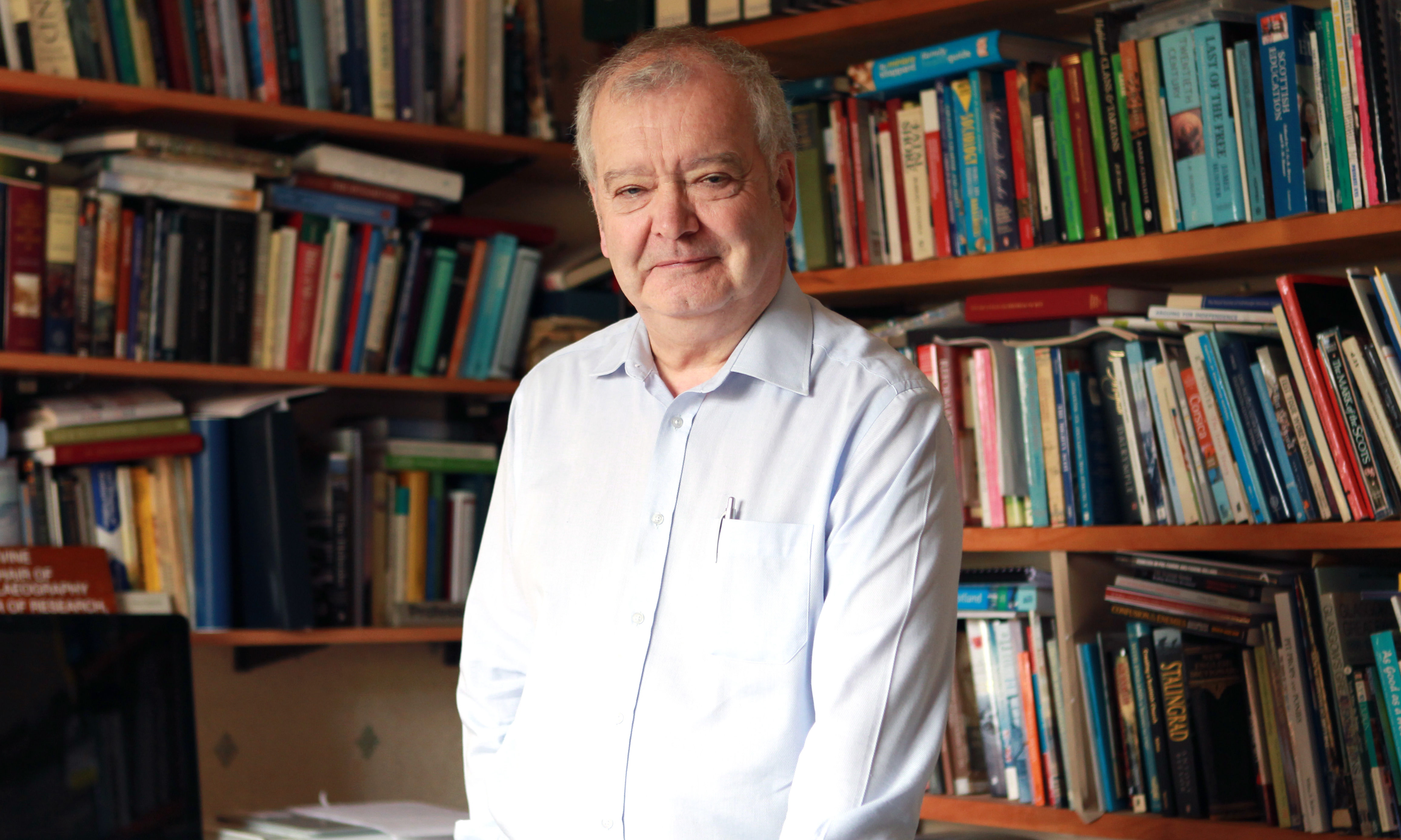 Professor Sir Tom Devine at his home.