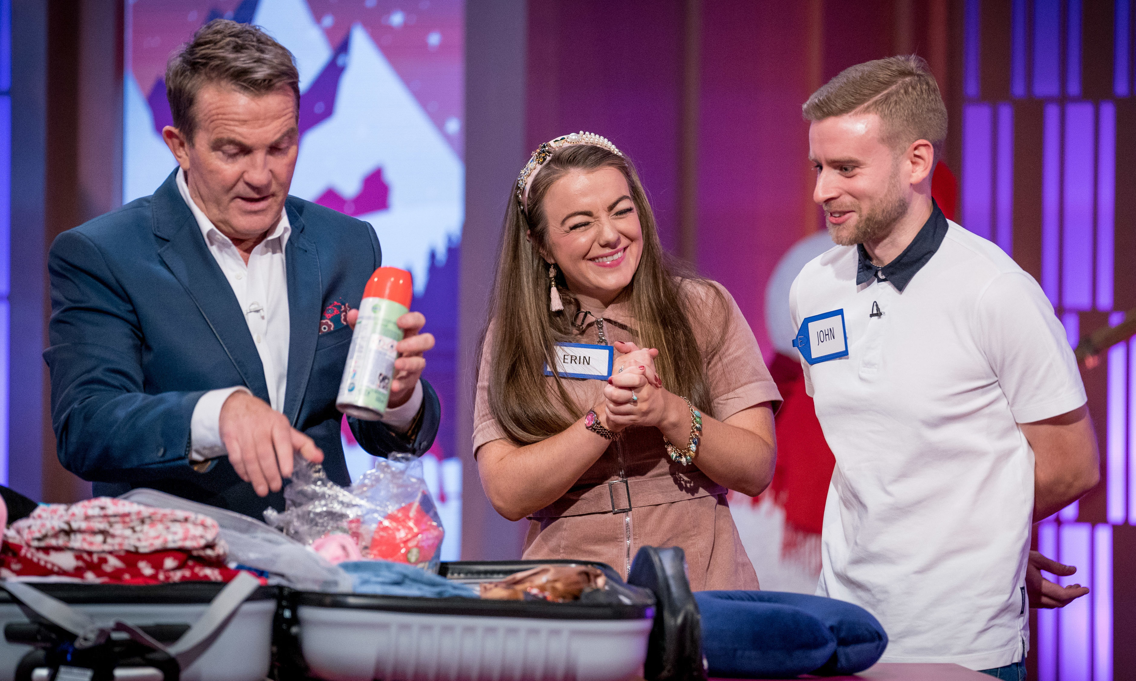 Bradley Walsh with Erin Grant and John Curran.
