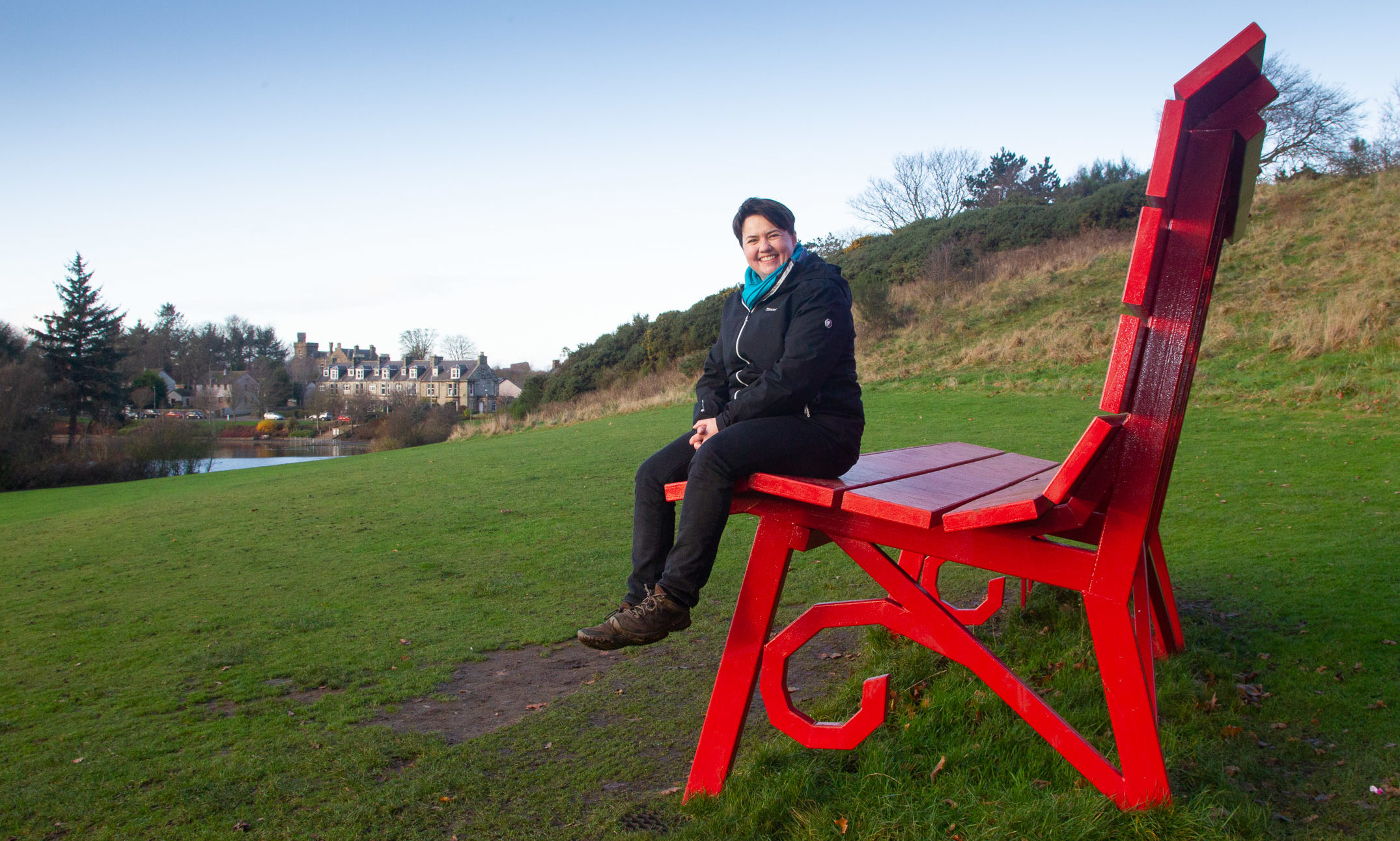 Ruth Davidson at Keptie Pond, Arbroath.