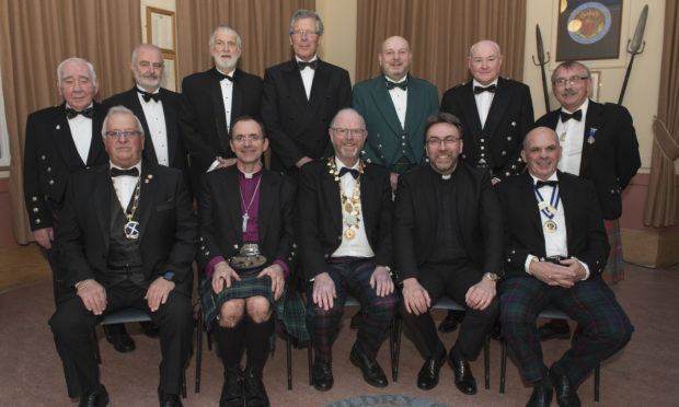 """20191206- Brechin Guildry Dinner The Dean of Guild, Mr David Robinson, welcomed a company of 66 Guildrymen and their Guests to the Annual Dinner of the Guildry Incorporation of Brechin in the Mechanics' Institute on Friday evening.    Rev Dr Wayne Pearce, Minister of Edzell, proposed the toast to """"The City and Trades of Brechin"""" particularly encouraging the Guildrymen to support Brechin Cathedral, where the future is at present uncertain.   The reply was given most ably by Guildryman Ken Ferguson. The toast to """"The Guildry of Brechin"""" was given by the Rt. Rev Andrew Swift, Bishop of Brechin, who gave an extremely thoughtful talk    The Dean gave a most appreciative reply. Mr Gary Johnston proposed the toast to """"Our Guests"""" and the celebrated raconteur Cmdr. Jim Smith RN Retd. responded vividly on their behalf. The final toast of the evening was to """"The Dean"""", proposed by Mr David Howson, the immediate Past Dean of the Guildry. Catering for the Dinner's five courses was provided excellently by the George Hotel of Montrose.  © Andy Thompson Photography"""
