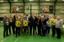 Victorious SNP contender Dave Doogan with his team.