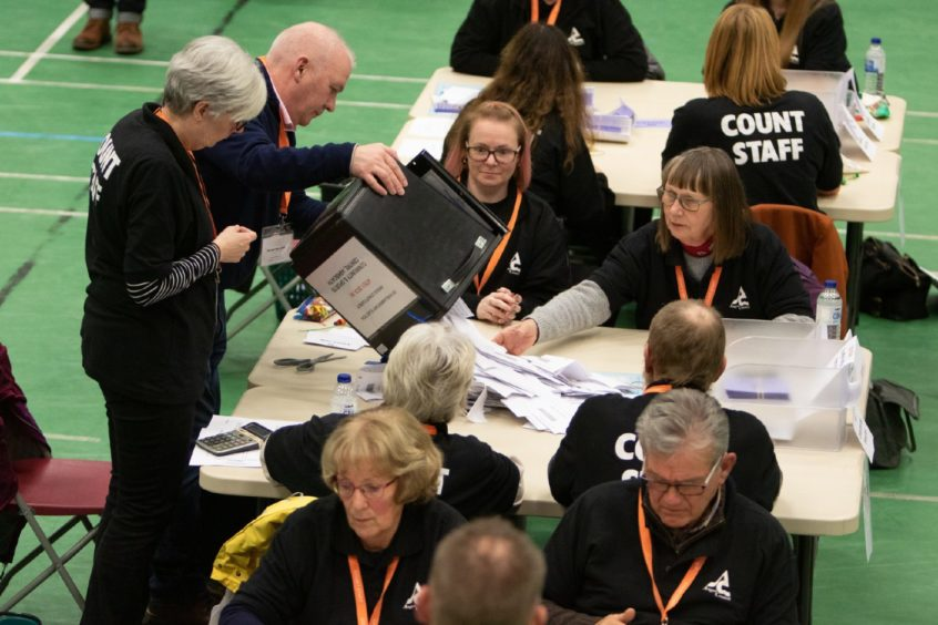 Counting under way at the Saltire Sports Centre in Arbroath for the Angus constituency.