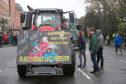 Farmers protesting in Dublin's city centre.