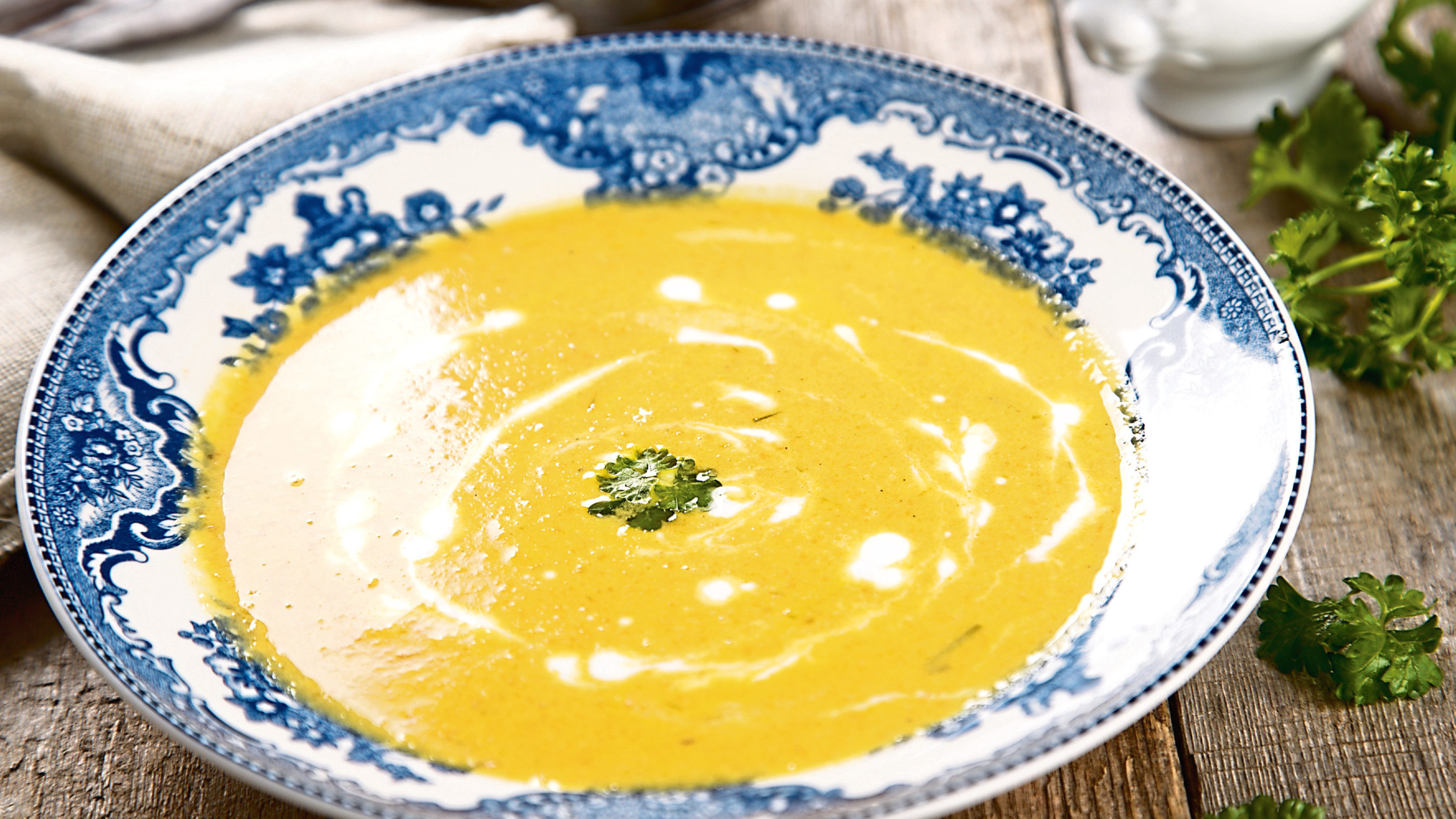 Carrot soup with coconut milk.