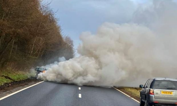 Fumes belched from the car on the A92 near Glenrothes.