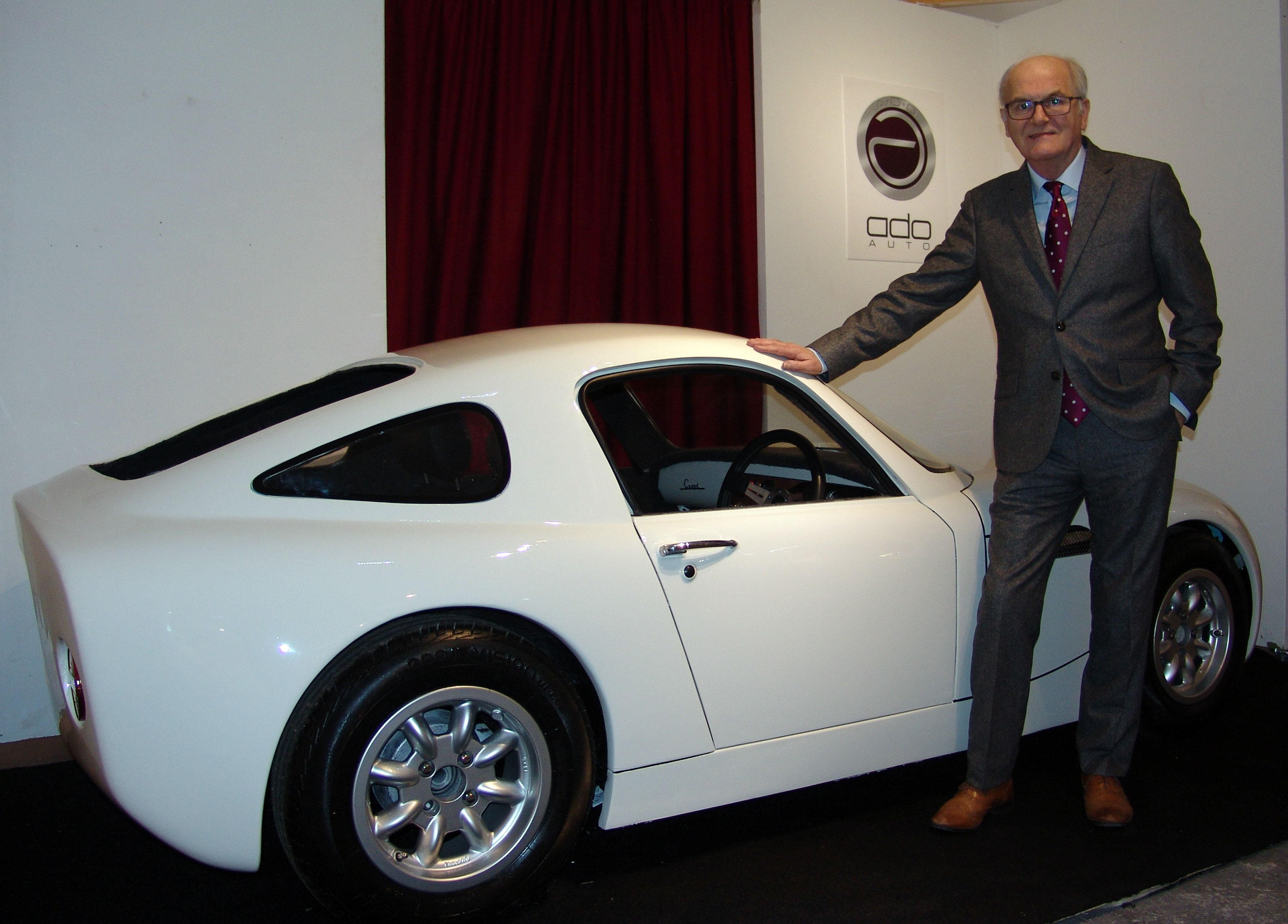 Event director Douglas Anderson at the recent launch of his ADO Coupe, the first new car made in Scotland for nearly 40 years.