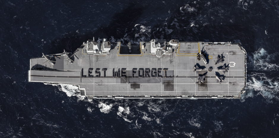 Lest We Forget spelled out on the four-acre flight deck of HMS Queen Elizabeth.