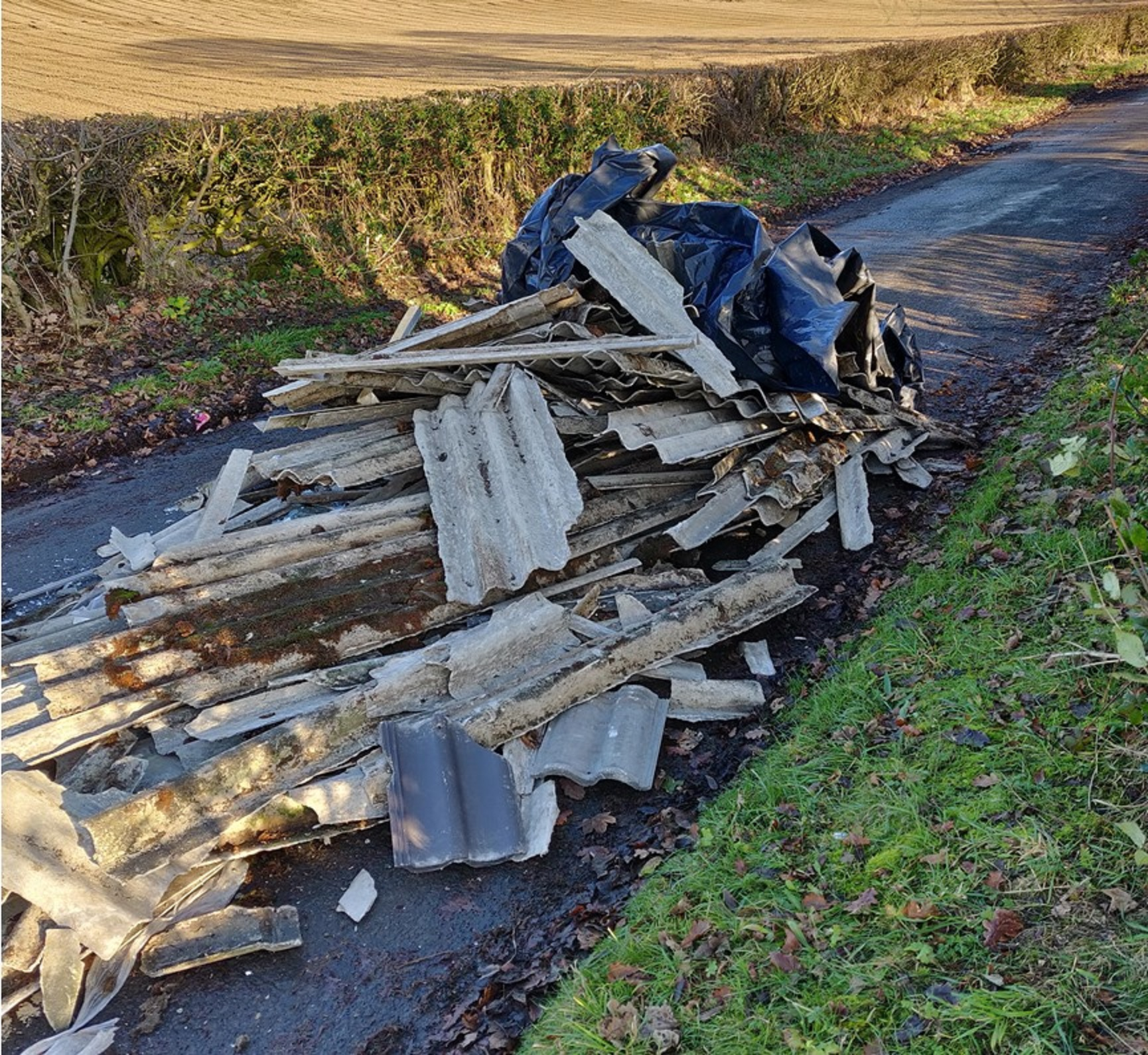 Dumped waste led to the closure of a road near Kennoway for several hours.