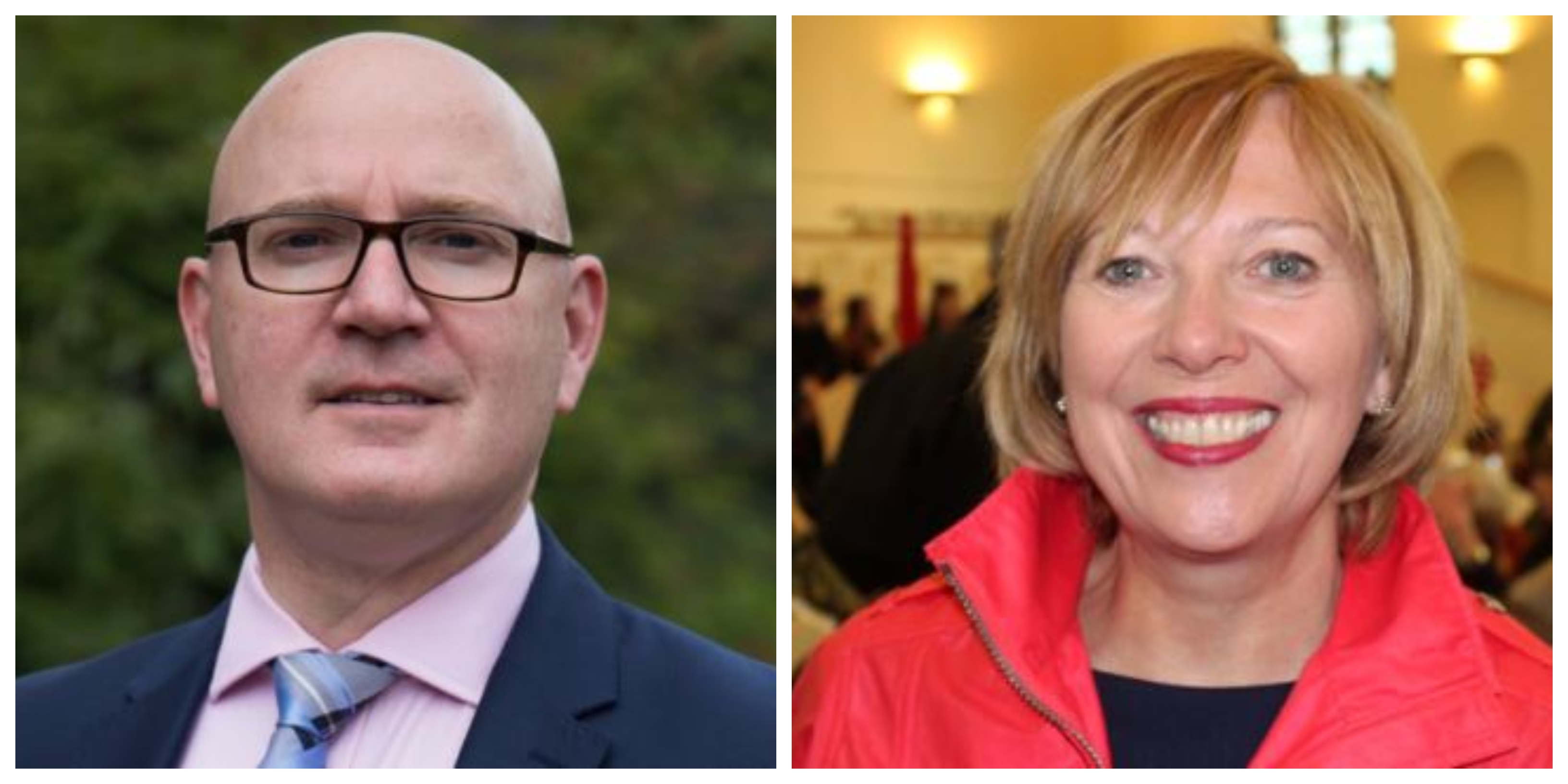 Candidates Neale Hanvey, independent, and Labour's Lesley Laird.