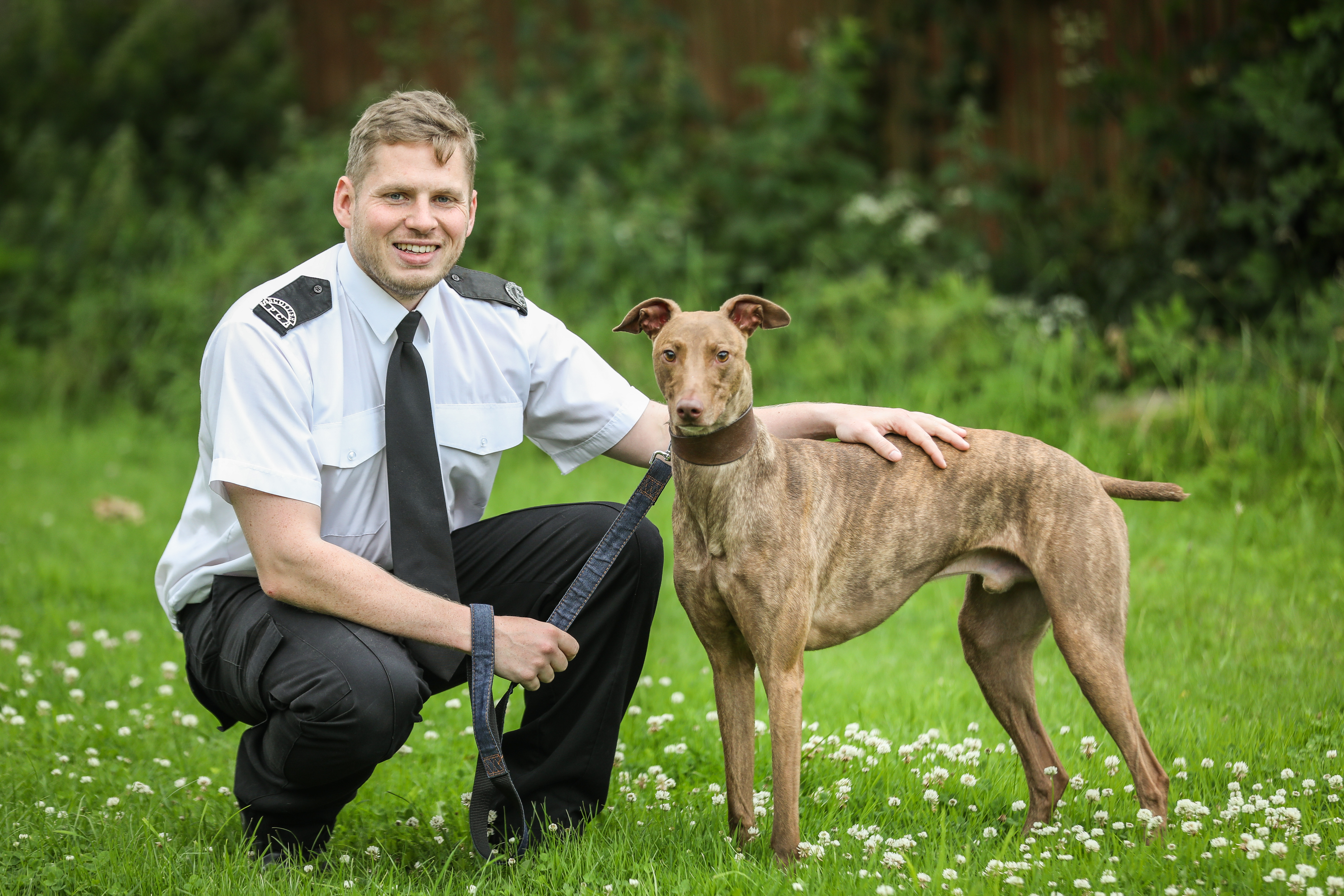 SSPCA Petterden manager Elliot Hay with Buddy the lurcher.