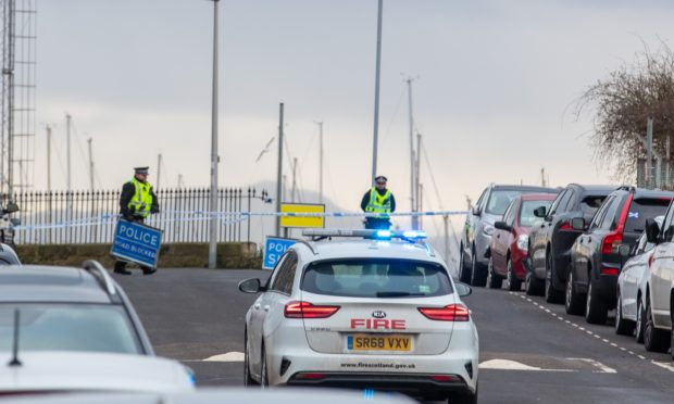 Emergency crews at Burntisland Harbour after a suspicious package was found on an oil rig off Methil.