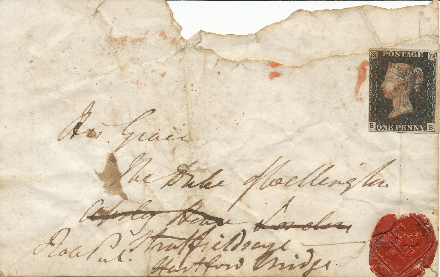 A Penny Black used to seal a letter (private collection).