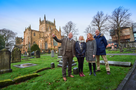 Pictured at Dunfermline Abbey, from left, Donald MacKenzie, Dunfermline & West Fife Local Tourism Association, Michelle Sweeney, Director of Creative Development & Delivery, Fife Cultural Trust, Caroline Warburton, VisitScotland Regional Leadership Director and Derek Bottom, Chair of Dunfermline Heritage Partnership.
