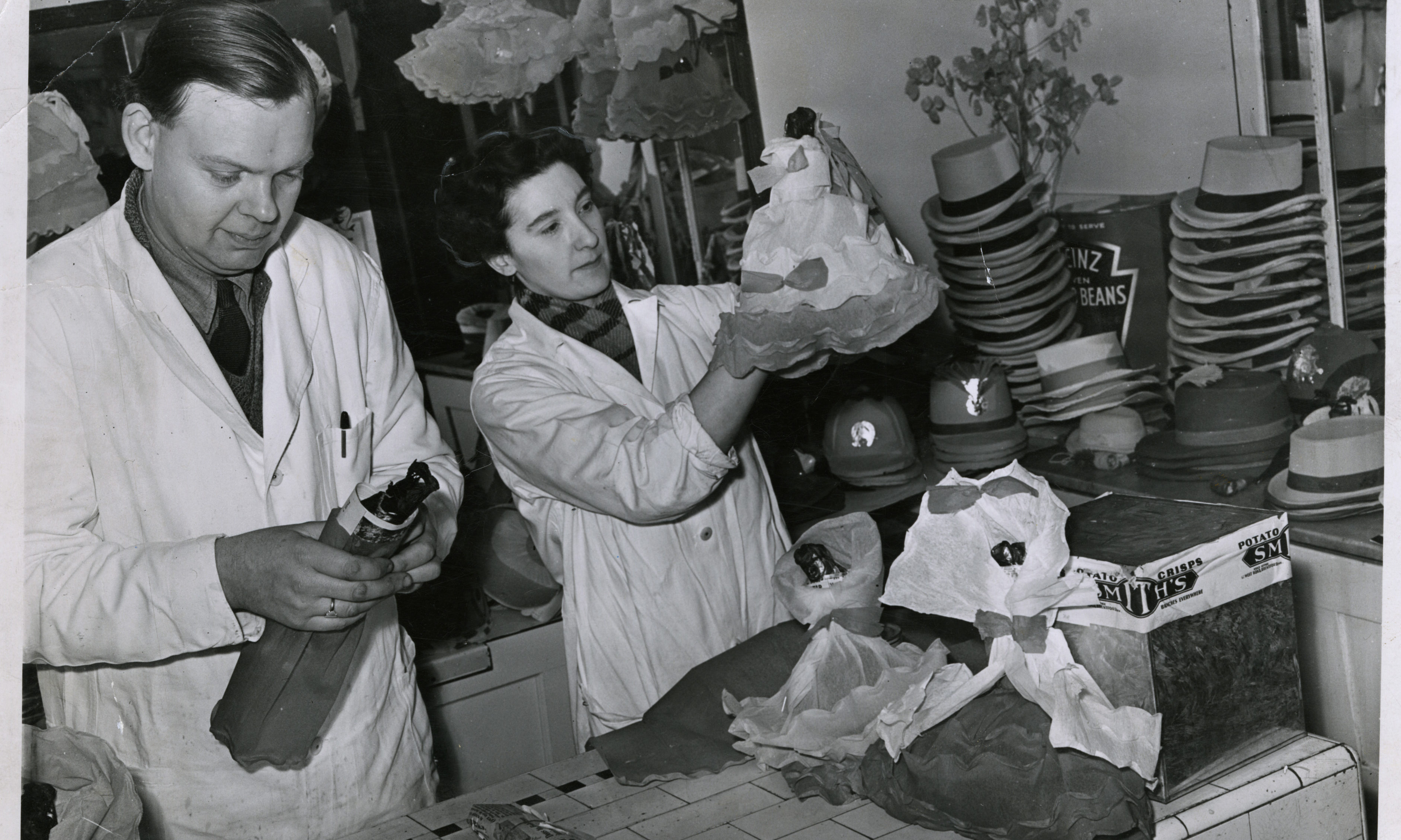 Preparing Red Herring. Mr and Mrs William Gardyne preparing red herring for first-footing in 1957