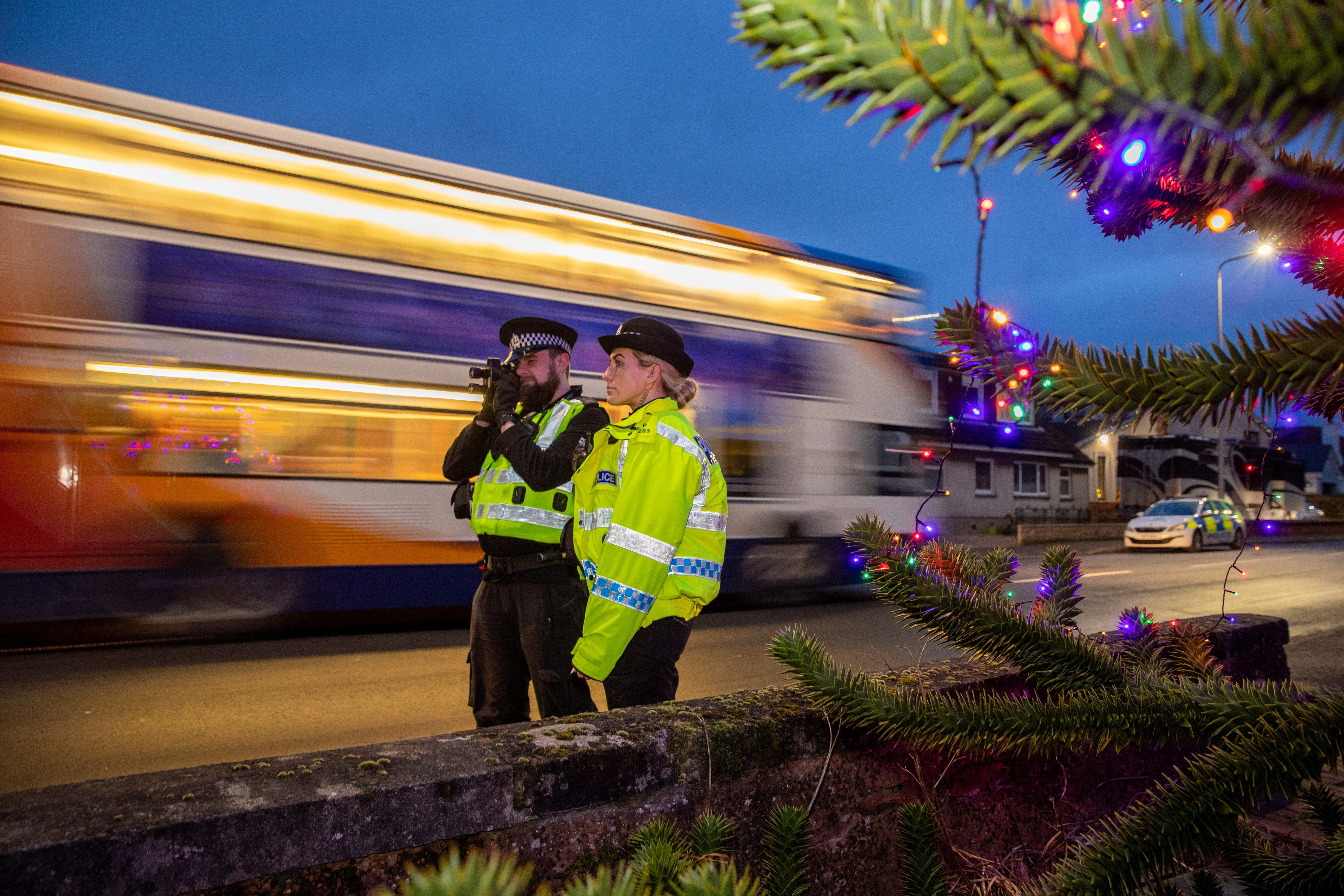 Community police  officers  Danny Hatch and Kate Drummond on the lookout for speeding motorists in Burntisland.