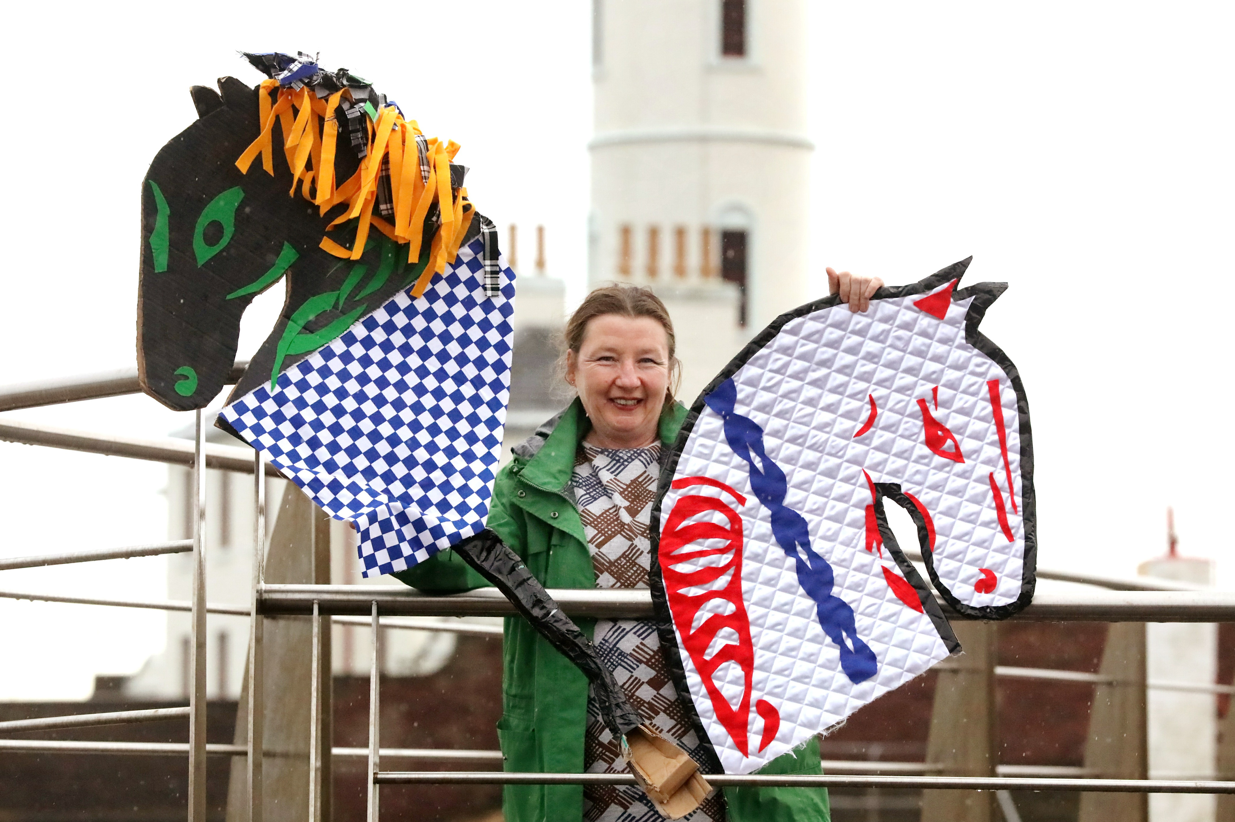 Artist Mandy Mcintosh with her version of the 'Arbroath Kelpies'.