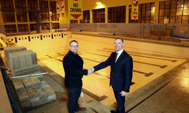 David Paton from Montrose Playhouse with Gavin Currie of Bancon Construction.