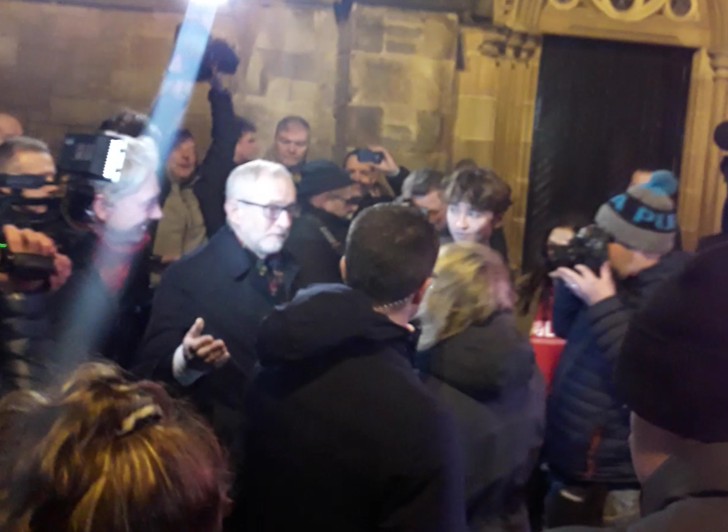 Jeremy Corbyn arrived in Govan, Glasgow, early on Wednesday morning.
