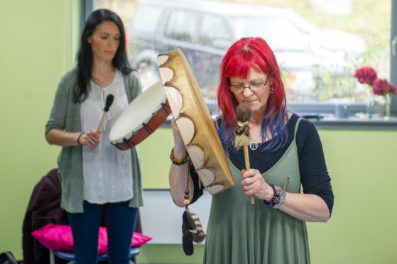 Gayle joins a shamanic drumming class led by Liz Harris at the Ecology Centre in Kinghorn.