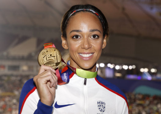 Katarina Johnson-Thompson with her world gold.