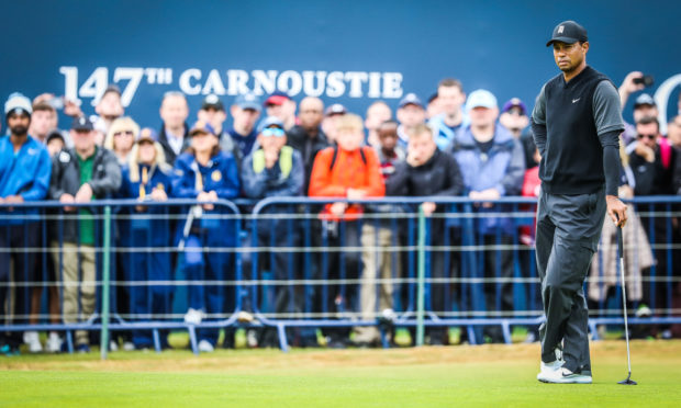Tiger Woods playing at Carnoustie in 2018. Players from around the world flock to play the course..