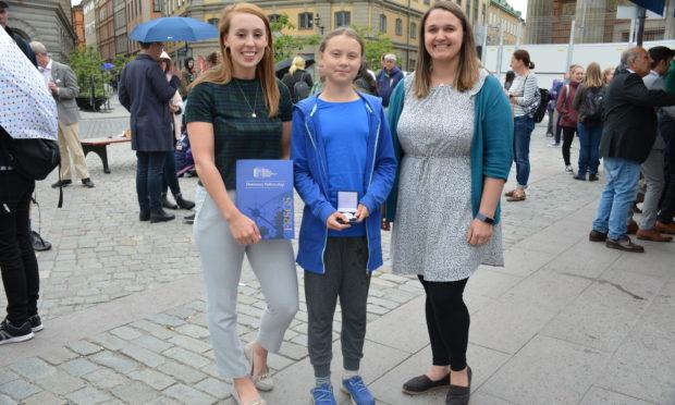 L-R_ Eilidh Watson, Greta Thunberg, Lyndsey Croal