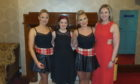 Layla, second left, backstage with Deirdre Brennan and two of the bands dancers.